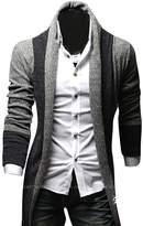 Kisstyle Mens Casual Splicing Design Long Sleeve Soft Warm Cardigan_Blue Grey_XL