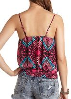 Charlotte Russe Banded Bottom Ruffle Tank Top