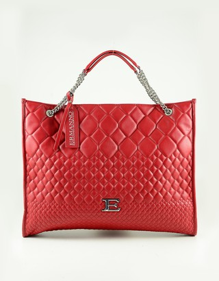 Ermanno Scervino Red Quilted Eco Leather Tote Bag