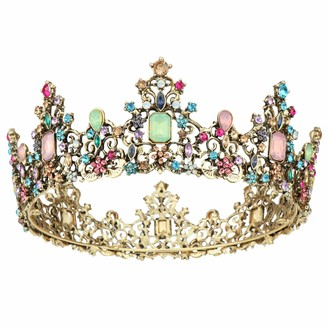 Coddsmz Baroque Crown Women Luxurious Crystal Rhinestone Bridal Tiara Princess Headpieces Girls Bridal Bride Tiara Princess Birthday Wedding Pageant Party with Combs (Multicolored)
