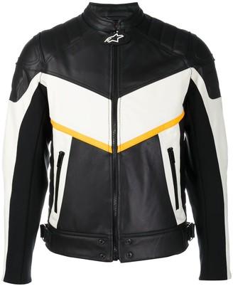 Diesel Colour-Block Leather Biker Jacket