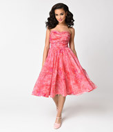 Vintage 1950s Pink Floral Print Chiffon Strapless Swing Dress