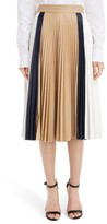 Victoria Beckham Women's Colorblock Pleated Nappa Leather Skirt