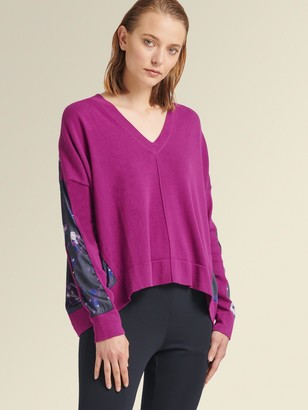 DKNY Donna Karan Women's V-neck Pullover With Printed Panels - Magenta - Size XX-Small