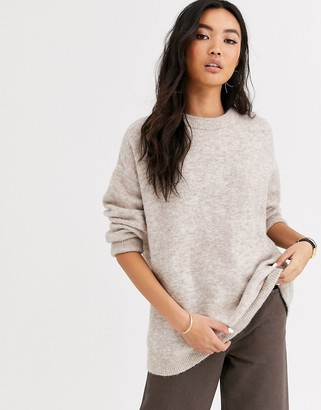 And other stories & round neck longline sweater in oat-Multi