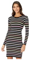 Milly Multi Stripe Long Sleeve Dress (Black Multi) Women's Clothing