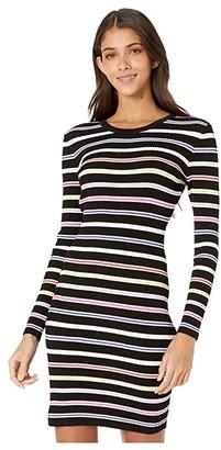 Milly Multi Stripe Long Sleeve Dress (Black Multi) Women's Clothing