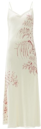 Carine Gilson Floral-print Silk-satin Slip Dress - White Print