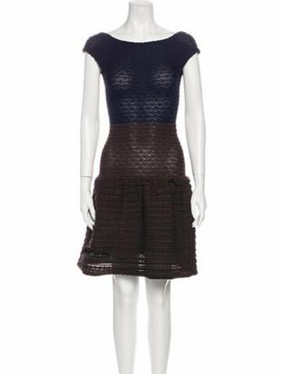 Louis Vuitton Colorblock Pattern Knee-Length Dress Blue