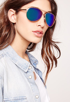 Missguided Mirrored Aviator Sunglasses Green