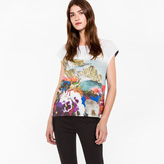 Paul Smith Women's Navy Sleeveless T-Shirt With 'Coastal Floral' Print