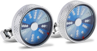 Tateossian Wheel of Fortune Rhodium-Plated and Enamel Cufflinks - Men - Silver