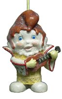 "Kurt Adler 4"" Guitar Player Rock n' Roll Guy Ice Cream Cone Christmas Ornament #W5383"