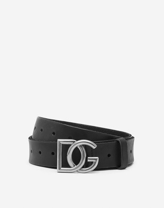 Dolce & Gabbana Split-Grain Leather Belt With Crossover Logo