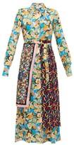 M Missoni Scarf-panel Floral-print Crepe Shirt Dress - Womens - Multi