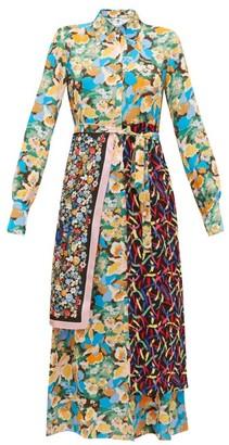 M Missoni Scarf-panel Floral-print Crepe Shirt Dress - Multi