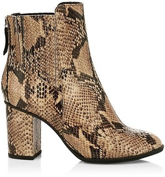 Schutz Fabricia Snakeskin-Embossed Leather Ankle Boots