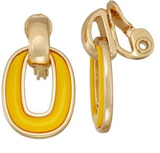 Dana Buchman Yellow Doorknocker Clip-On Earrings