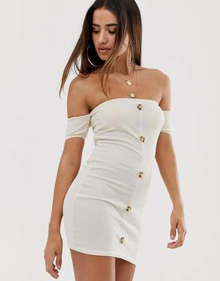 Bardot In The Style Ribbed Horn Button Dress-Stone