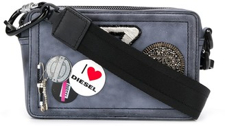 Diesel patch and badge embellished cross body bag