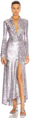 Paco Rabanne Maxi Shirt Dress in Silver Hortensia Acid Flow | FWRD