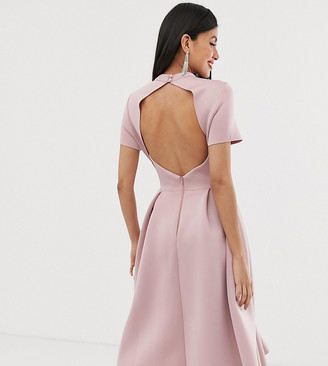 Asos Tall DESIGN Tall T-Shirt open back prom midi dress-Orange