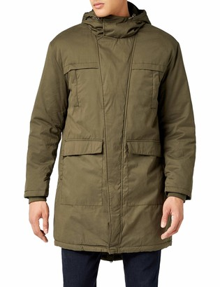 Urban Classics Men's Canvas Parka Jacket with Adjustable Hoodie Long Winter Coat Cotton Peached Regular Fit