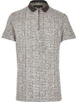 River Island MensGrey chunky zip-up polo shirt