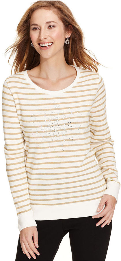 Style&Co. Sport Top, Long-Sleeve Metallic Striped Embellished