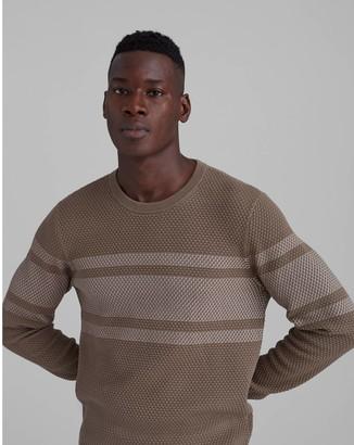 Club Monaco Honeycomb Striped Crewneck Sweater