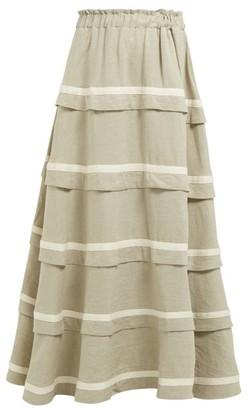 BEIGE White Story - Bliss Tiered-linen Maxi Skirt - Womens