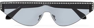 Poppy Lissiman Shield D-frame Crystal-embellished Acetate Sunglasses - Black