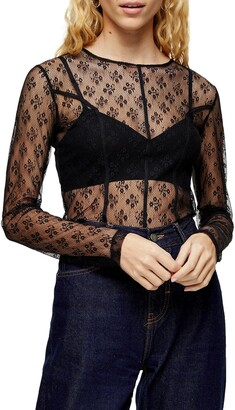 Topshop Lace Seam Sheer Top