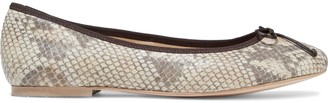 French Sole Lola Bow-embellished Snake-effect Leather Ballet Flats