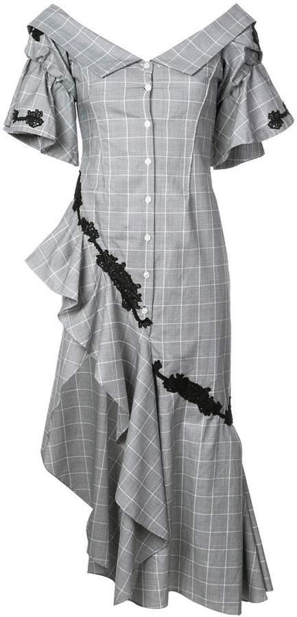 Jonathan Simkhai plaid lace ruffle dress
