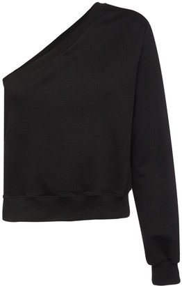 MSGM One Shoulder Cotton Fleece Sweatshirt