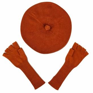 Asneh Brown Silk Cashmere Beret & Fingerless Gloves Set