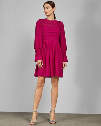 Ted Baker Embroidered Volume Sleeve Dress