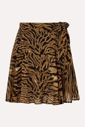 Ganni Tiger-print Georgette Mini Skirt - Brown
