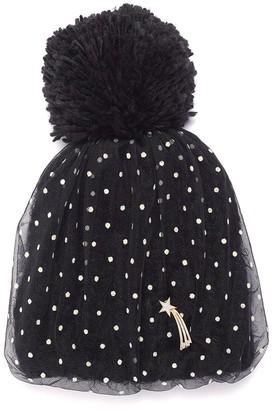 Venna Detachable pin dot tulle overlay pompom knit beanie
