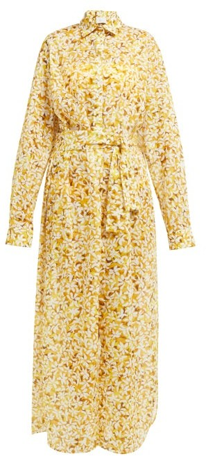 Marios Schwab On The Island By Balos Floral Print Cotton Voile Shirtdress - Womens - Yellow