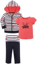 Yoga Sprout Girls' Yoga Pants Wild - Navy & Pink Stripe 'Wild' Hoodie Set - Toddler & Girls