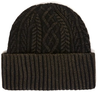 Topman Black Cable Knit Beanie