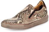Robert Graham Rolo 4 Snake Skin-Embossed Skate Sneaker, Taupe