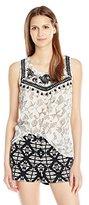 Lucky Brand Women's Printed Pom Tank Top