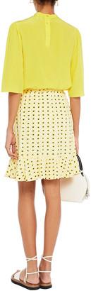 Ganni Wrap-effect Printed Crepe Mini Skirt