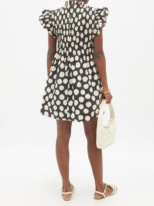 Sea Arline Smocked Polka-dot Cotton-poplin Mini Dress - Black Multi