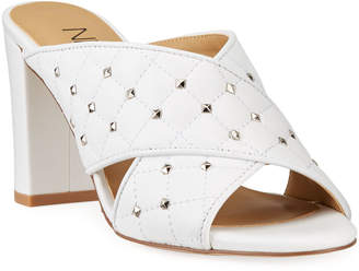 Neiman Marcus Bodile Studded Leather Crisscross Slide Sandals
