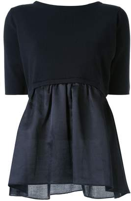 TOMORROWLAND poplin-panelled knitted top