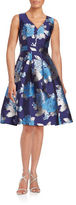Eliza J Floral Jacquard Fit-and-Flare Dress